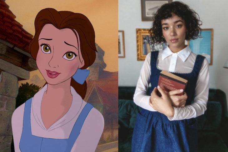 Comparación de una modelo con la princesa Belle de la Bella y la Bestia