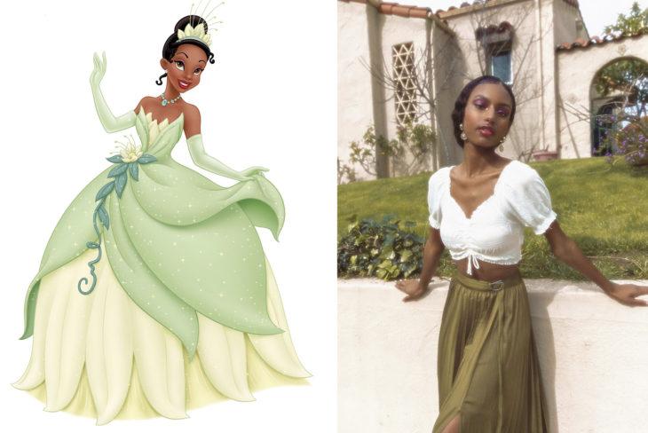 Comparación de una modelo con la princesa Tiana de La princesa y el Sapo