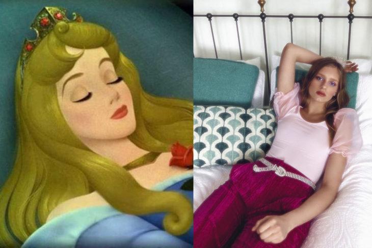 Comparación de una modelo con la princesa Aurora de Disney