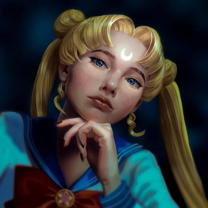 Ilustraciones digitales de Sailor Scouts hechas por Cherry Umbrella; Sailor Moon, Serena Tsukino