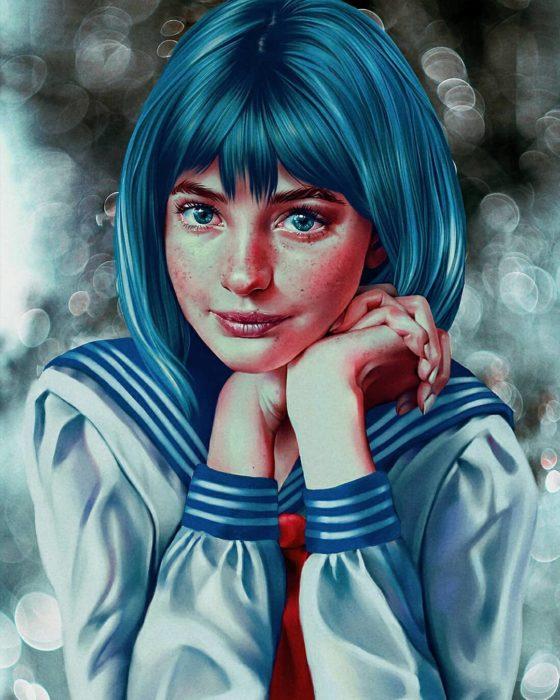 Ilustraciones digitales de Sailor Scouts hechas por Cherry Umbrella; Sailor Mercurio, Amy