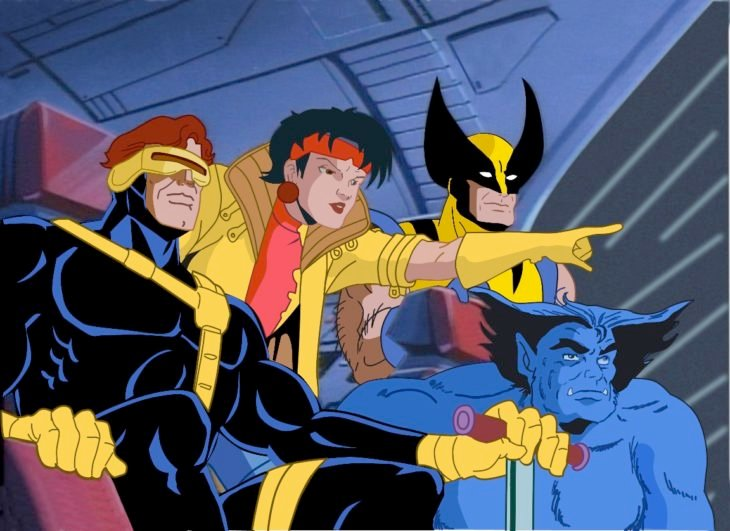 Escena de la serie X-Men, personajes reunidos volando en el ave negra