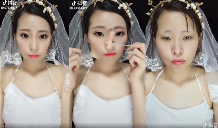 Chica asiatica mostrando su proceso de maquillaje