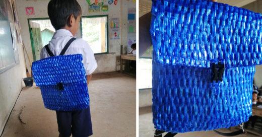 Padre crea mochila de rafia para su hijo