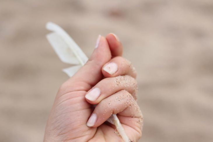 Manos de mujer sosteniendo una pluma