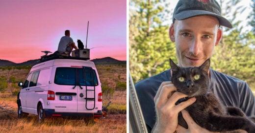 Renunció a su trabajo para viajar por Australia junto a su gato