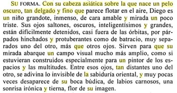 fragmento del texto Retrato de Diego de Frida Kahlo