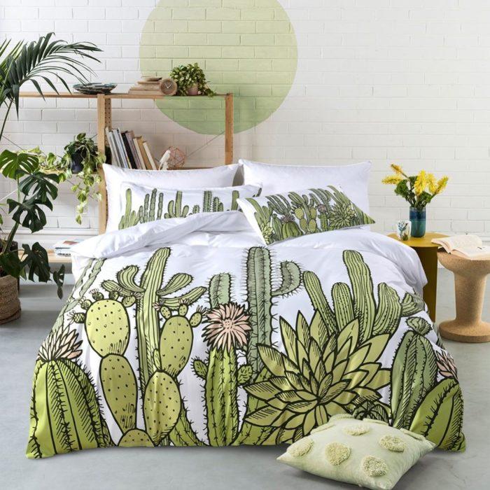 Edredón para cama de cactus