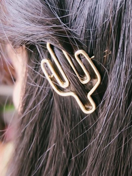 Broche dorado para el cabello en forma de cactus