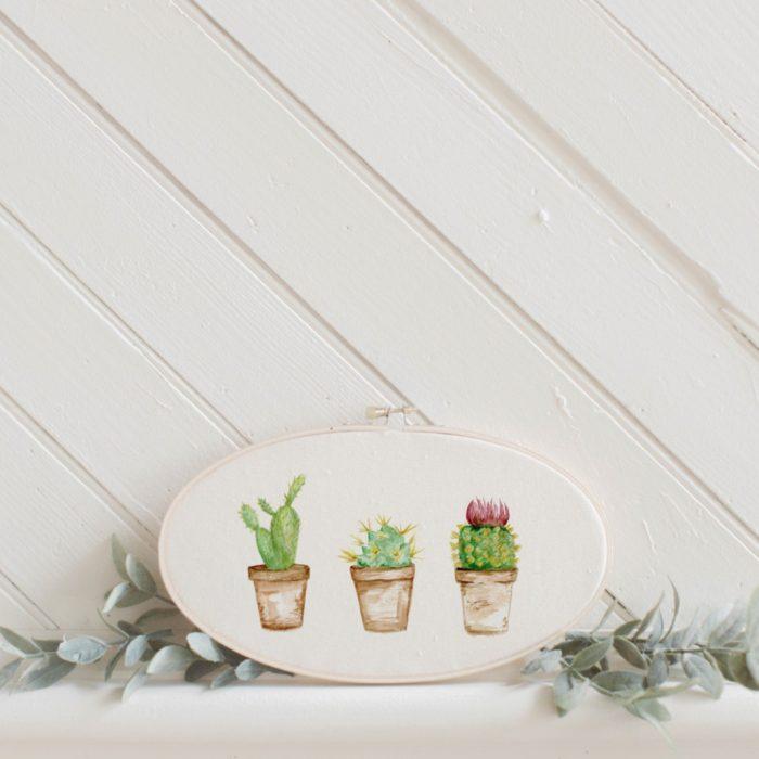 Adorno de pared de cactus de acuarela