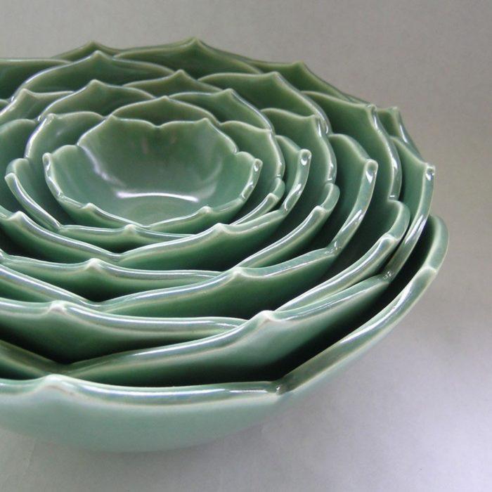 Bowl de cerámica de suculenta