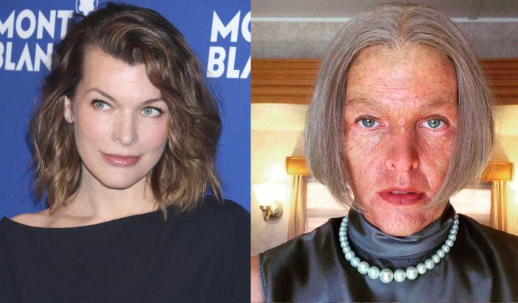 Milla Jovovich caracterizada como viejita para la película resident evil