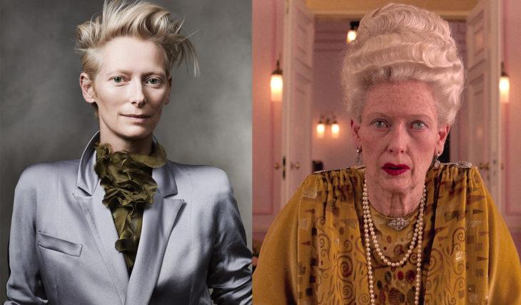 Tilda Swilton interpretando a una mujer adulta en la película el gran hotel budapest
