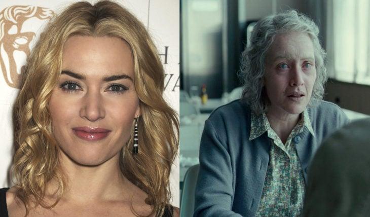 Kate Winslet joven e interpretando a una viejita en la película The reader