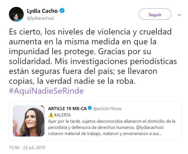 Tuit de Lydia Cacho sobre el robo en su casa