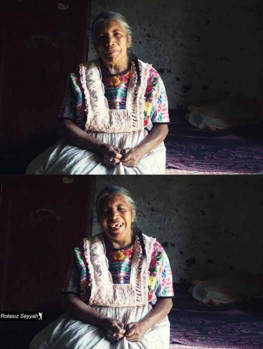 Retratos de Mehmet Genç, Rotasiz Seyyah, de mujeres de diferentes culturas antes y después de decirles que son hermosas; serias y sonriendo