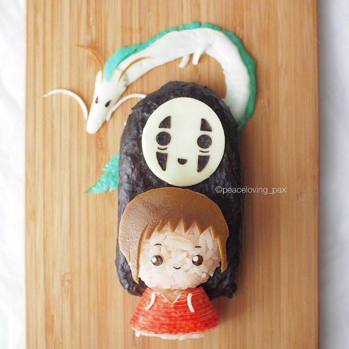Figura de arroz creado por Pax pacífico inspirada en El viaje de Chihiro