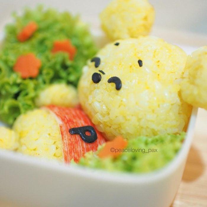 Figura de arroz creado por Pax pacífico inspirada en Winnie Pooh