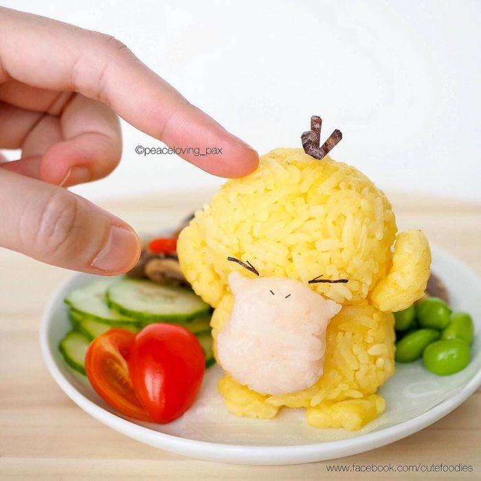 Figura de arroz creado por Pax pacífico inspirada en Pokemon