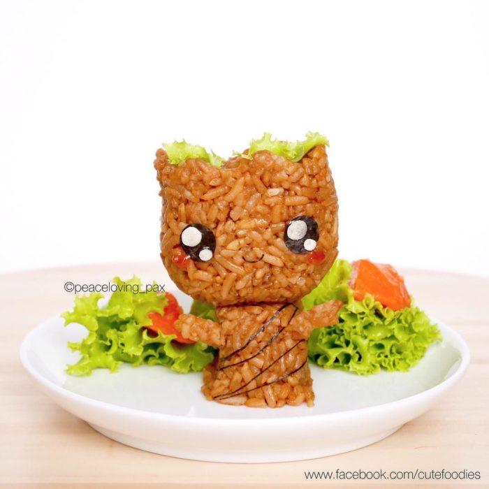 Figura de arroz creado por Pax pacífico inspirada en Groot