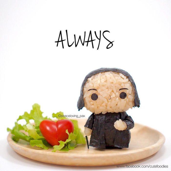 Figura de arroz creado por Pax pacífico inspirada en Severus Snape