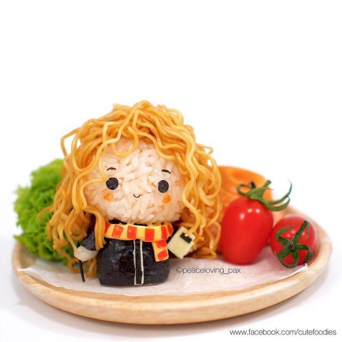 Figura de arroz creado por Pax pacífico inspirada en Hermione Granger