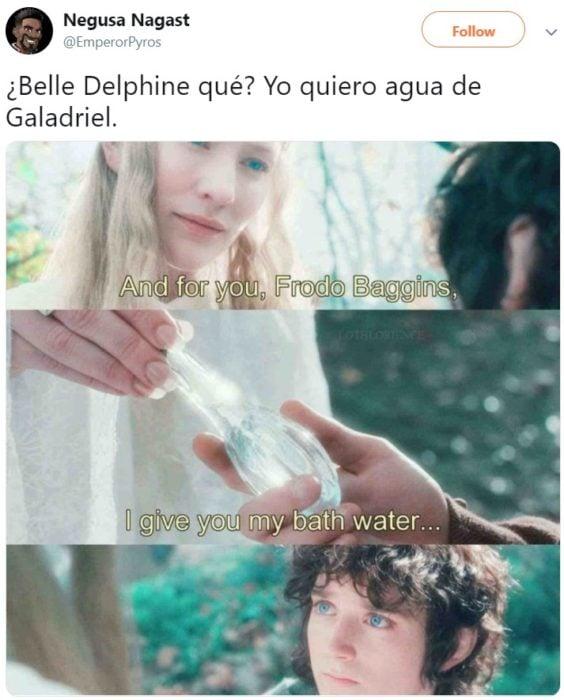 Cosplayer Belle Delphine vende el agua de su bañera y los compradores la están bebiendo; Galadriel y Frodo de El señor de los anillos