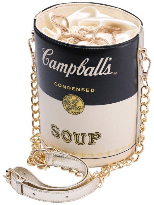 Bolsa retro en forma de lata de sopa campballs de color blanco con negro