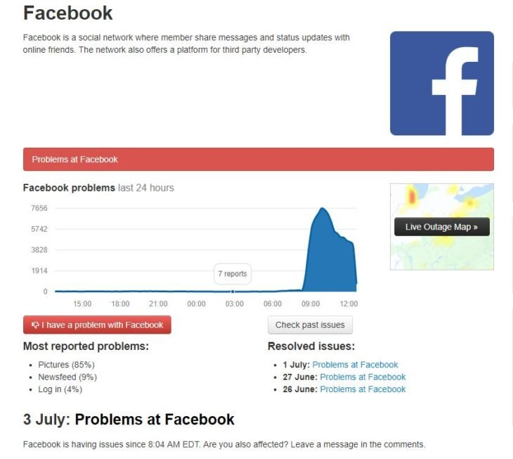 reporte de downdetector.com sobre Facebook