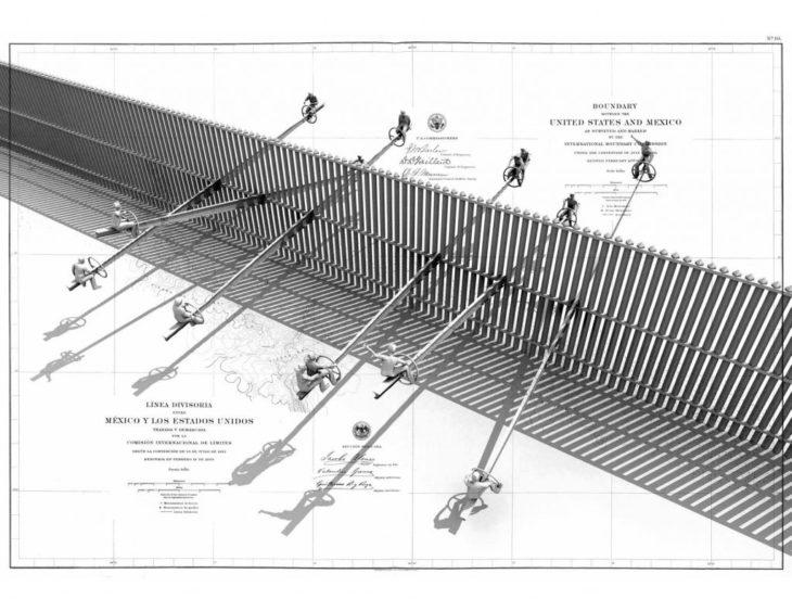 dibujo del diseño de los balancines colocados en la valla fronteriza entre México y Estados Unidos