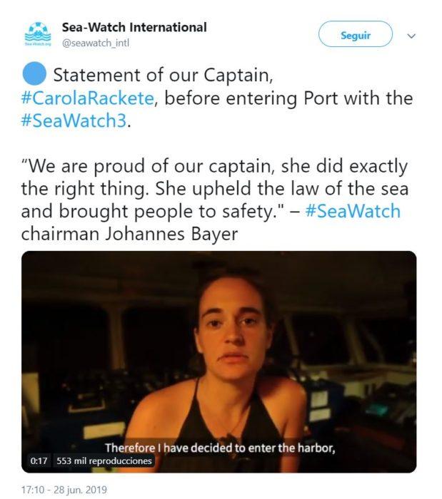 Tuit de Sea Watch en donde comparten el video en el cual Carola Rackete anuncia que atracará en Lampedusa