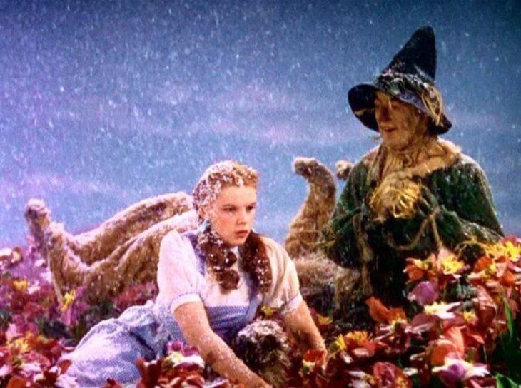 Datos sobre películas; El mago de Oz; Dorothy, el espantapájaros, el león y el hombre de hojalata bajo la nieve