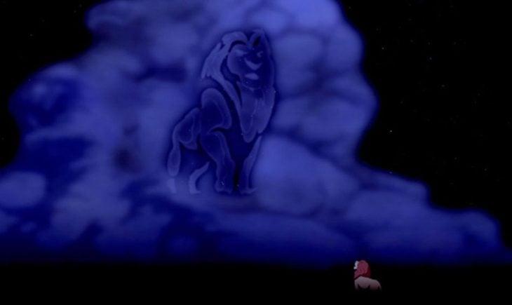 Curiosidades de la película de Disney, El rey León de 1994; nubes en forma de Mufasa en el cielo