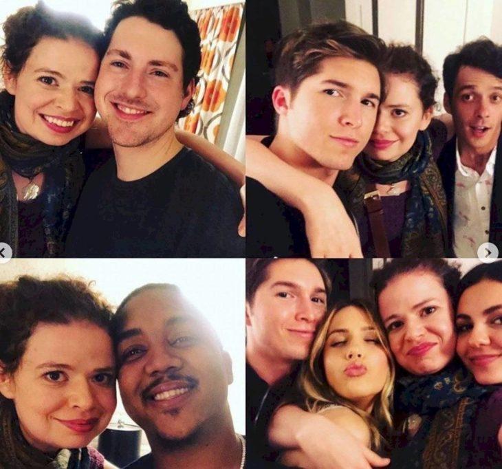 Sean Rio, Paul Butcher, Erin Sanders posando para fotos de Instagram
