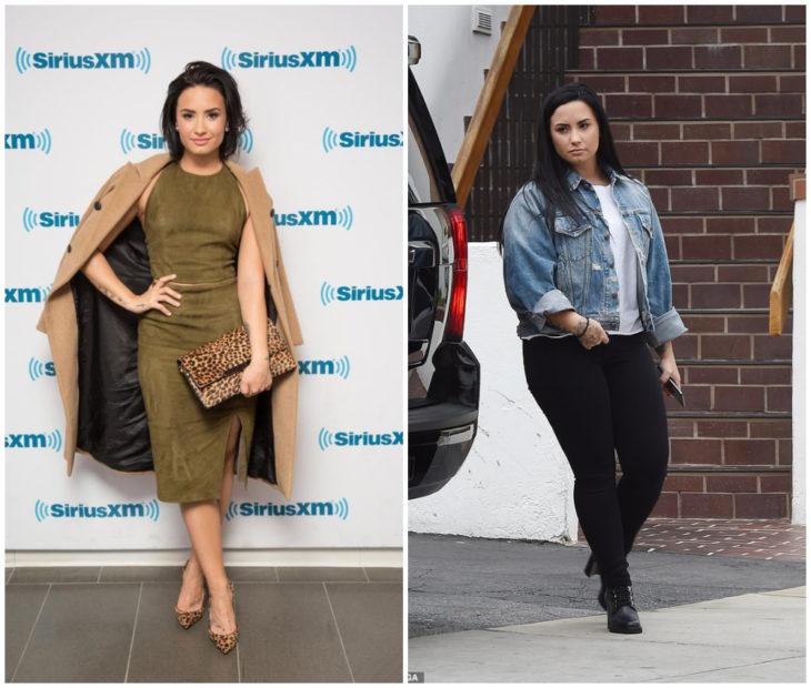 Demi Lovato antes y después de subir de peso. alfombra roja