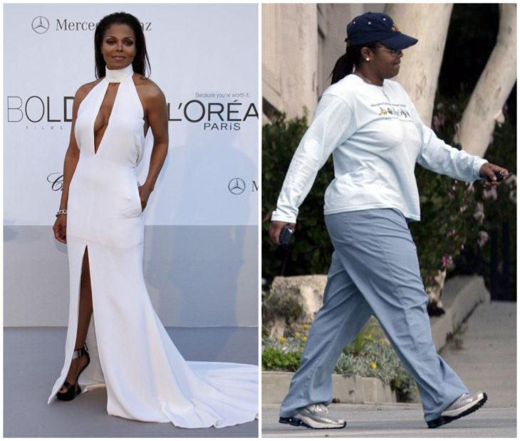 Janet Jackson antes y después de subir de peso drásticamente