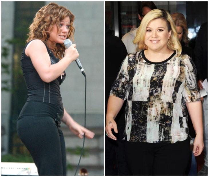 Kelly Clarkson antes y después de subir de peso drásticamente