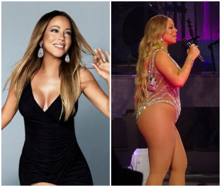 Mariah Carey cantando antes y después de subir de peso