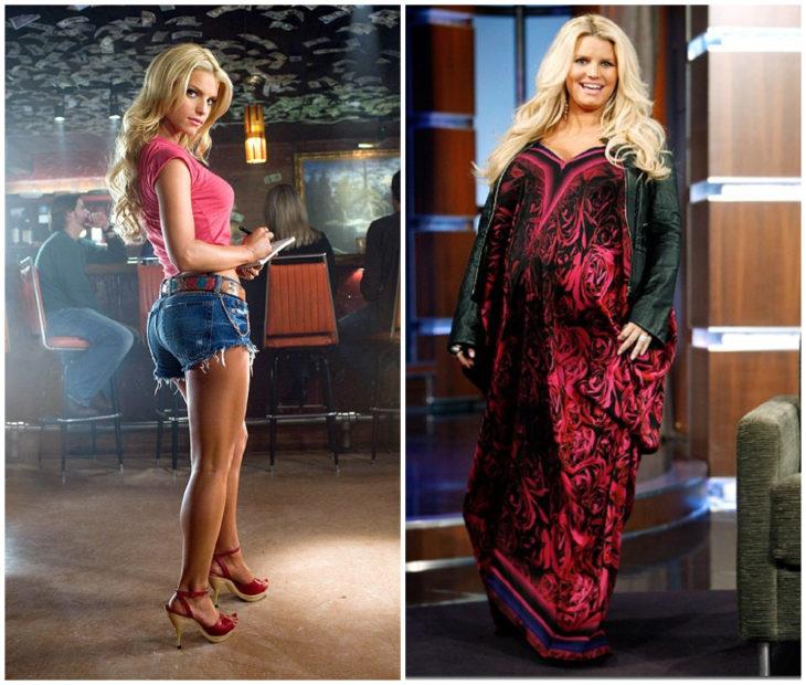 Jessica Simpson antes y después de haber aumentado de peso