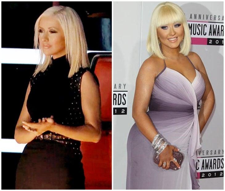 Christina Aguilera ante sy después de aumentar de peso