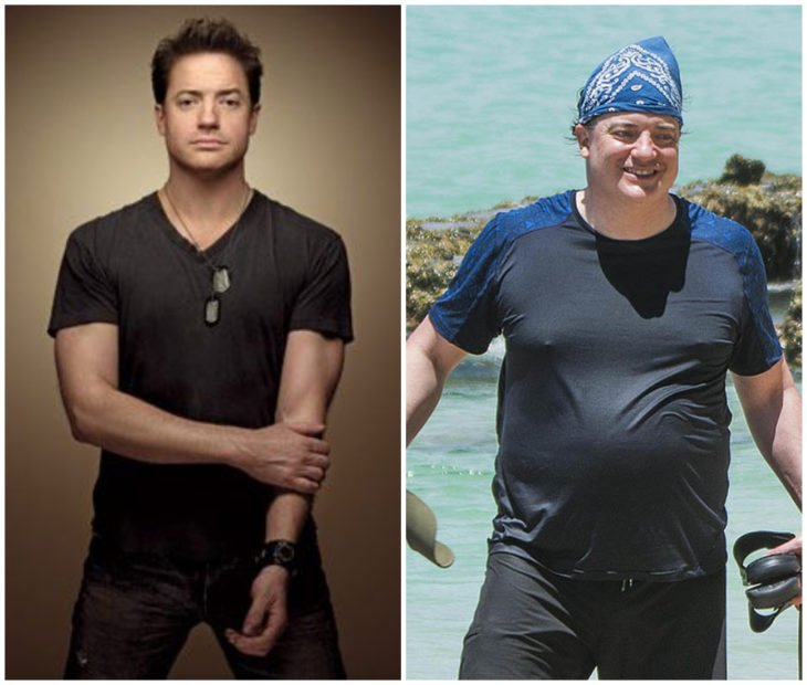Brendan Fraser antes y después de aumentar de peso