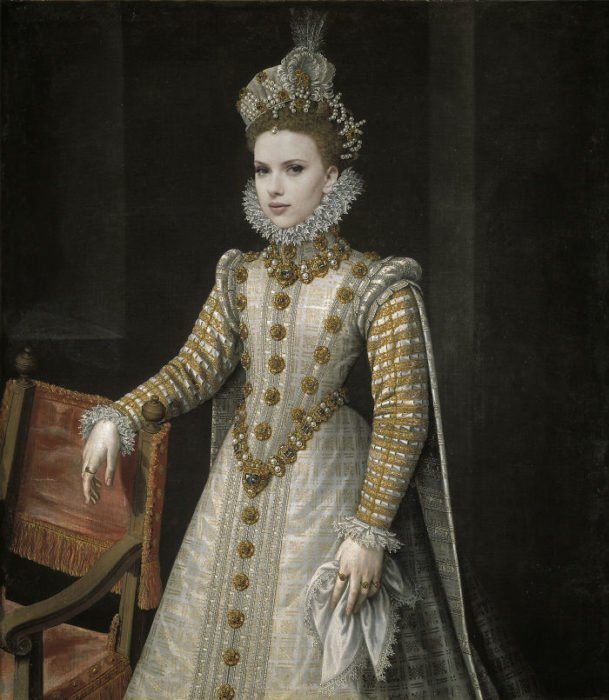 Scarlett Johansson pintada como si fuera la infanta Isabel de Alonso Sánchez Coello