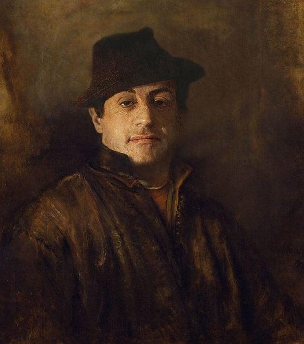 Sylvester Stallone pintado como uno de los autorretratos de Rembrandt de 1660