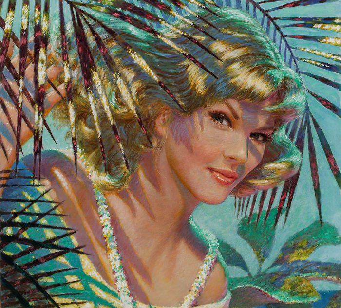 Taylor Swift como la pintura original de Edwin Georgi llamada In the Shade