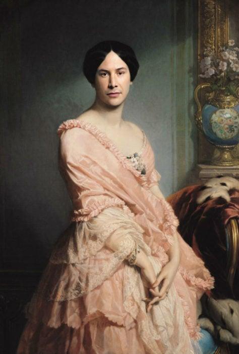 Keanu Reeves pintada como el retrato de Madame F por Edouard Luois Dubufe