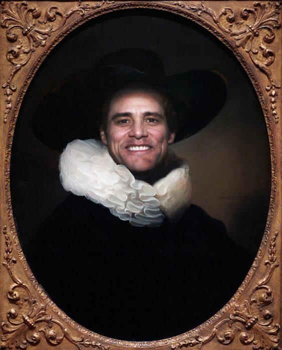 Jim Carrey pintado como el retrato de un hombre barbudo con un sombrero de ala ancha de Rembrandt