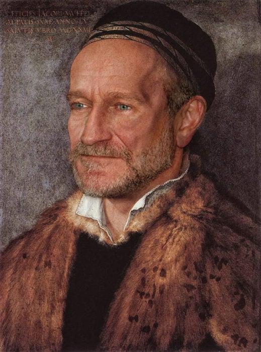 Robin Williams pintado como un artista alemán del Renacimiento de Albrecht Dürer