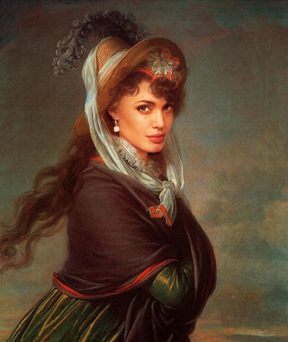 Angelina Jolie pintada como el retrato de una mujer joven de Élizabeth Vigée Le Brun.