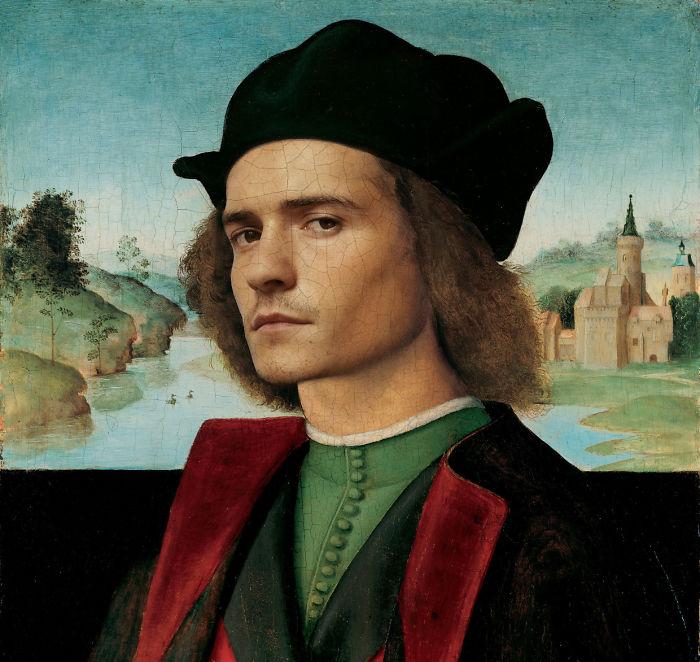 Orlando Bloom pintado como un hombre de Raffaello Sanzio da Urbino