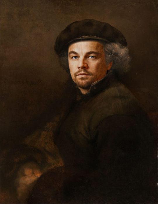 Leonardo Dicaprio pintado como uno de los autorretratos de Rembrandt de 1660